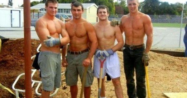 untitled men mowing lawn lawnmowers
