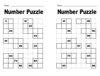 Here's a set of number puzzle frames where students work