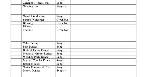 outline for formal wedding itinerary  Wedding DJ Reception Itinerary  Disc Jockey Indiana