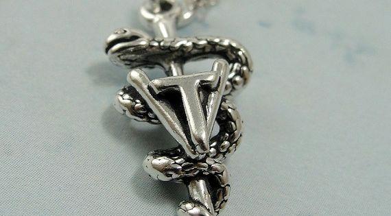 Vet TECH Symbol, Sterling Silver Vet TECH Charm On A