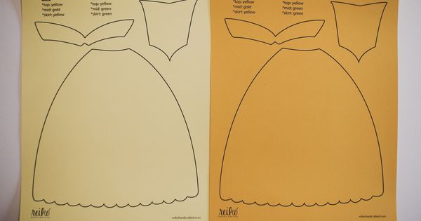 8 5 X 11 Inch Paper Dress Template For Belle From Disney's