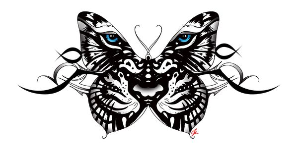 white Tiger Butterfly tattoo with tribal accent. Back