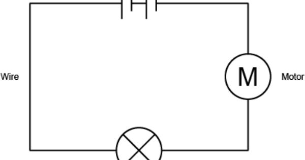 Diagram of a circuit showing a motor and a bulb connected