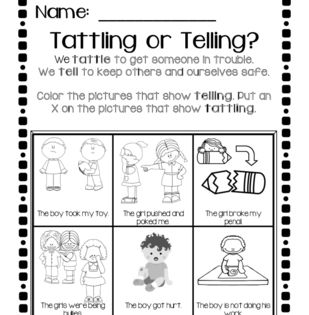 Tattling vs. Telling from ZoeCohen on TeachersNotebook.com