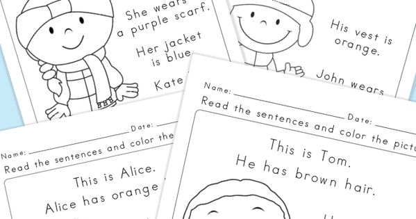 Read and Color Reading Comprehension Worksheets for Grade