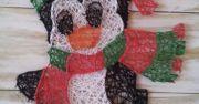 christmas penguin string art. check