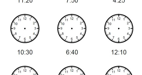 Free Telling Time Worksheets, Missing hands Time Clock