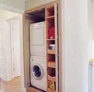 Laundry closet with stackable washerdryer hidden behind