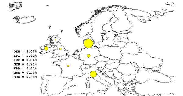 Map of Haplogroup K (MtDNA), specifically K1a, per