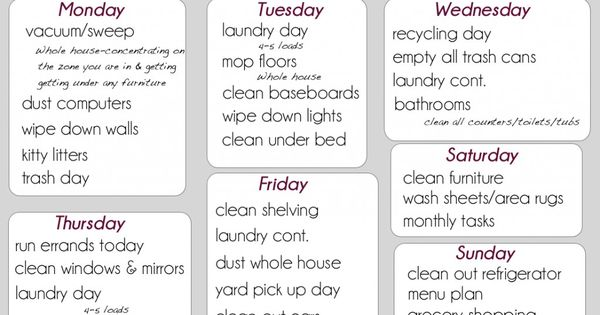 Detailed Cleaning list Week 4-Printable cleaning list