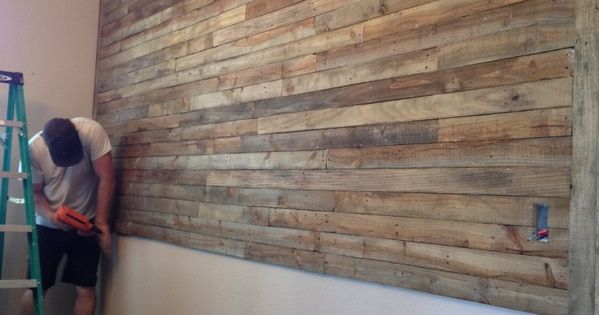 Shiplap Wall With Fireplace Wall Made Of Reused Wood Pallets And Stained With 1/4 Mix