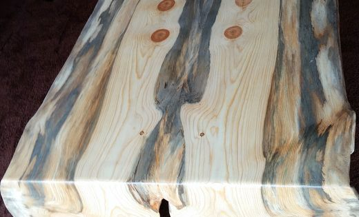 Beetle Kill Pine Book Match Slab Coffee Table With