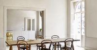Simple interior, blonde wide plank wooden floor, Thonet ...