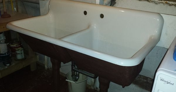 lowes kitchen faucets on sale granite countertops cost 1940 vintage american standard double basin porcelain over ...