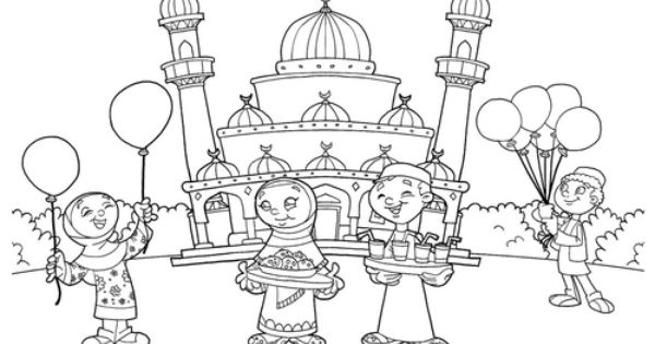 Eid Coloring Page With Masjid Ramadan And Eid
