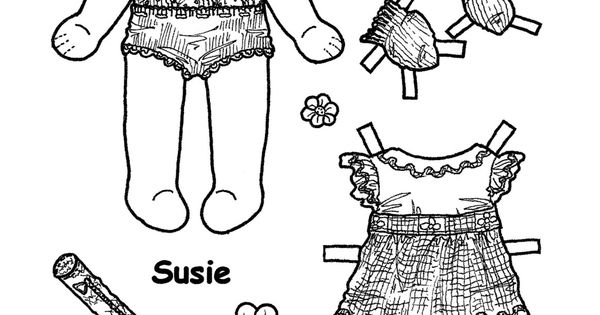 SUSIE from Karen`s Paper Dolls to Print and Colour 1 of 5