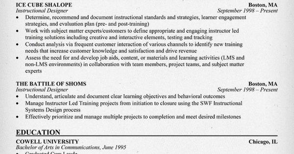 Instructional Designer Resume Example Resumecompanion Com