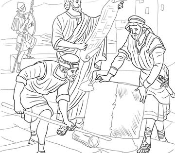 Nehemiah Rebuilding the Walls of Jerusalem Coloring page