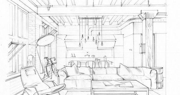 Interior drawing. One point perspective. Interior