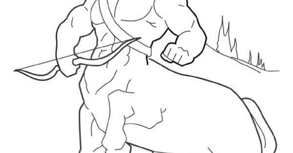 Dessin à colorier de Centaure, la créature mythologique mi