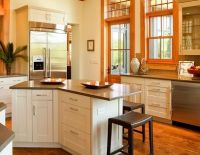 Oak Floors and Trim with White Cabinets and Grayish ...