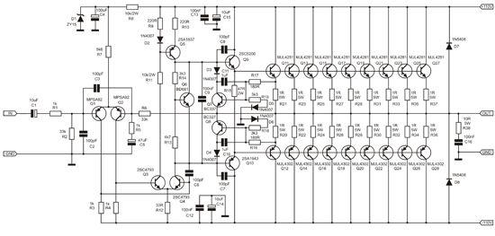 22 watt audio amplifier circuit