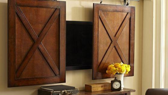 Rolling Cabinet Door Wall-Mount Flatscreen TV Media