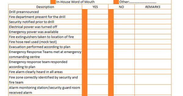 Fire Drill Evacuation Checklist Format Example
