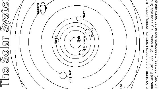 Enchanted Learning colouring-in page for the Solar System