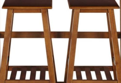 Kitchen Island Space Saver Set With Stools Natural And Walnut