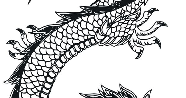 Line art traditional chinese dragon scales and pattern
