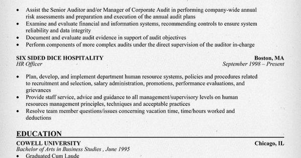Staff Auditor Resume  Resume Samples Across All