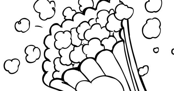 popcorn color page, letter P week, preschool/kindergarten