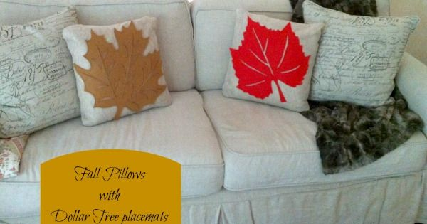 Fall Pillow Cover with Dollar Tree Placemats  Fall pillows