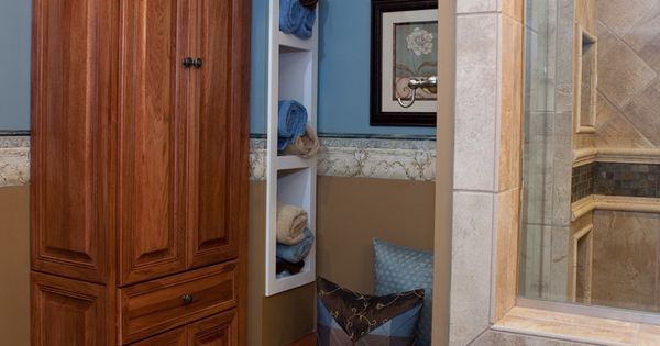 Master Bathroom Walk In Shower And Hickory Cabinetry