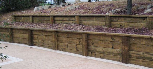 Treated Wood Retaining Wall Design Treated Pine Sleepers