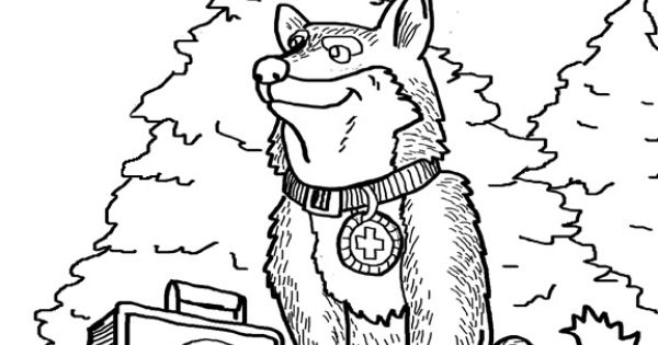 Here's a coloring page featuring huskies, a working dog if