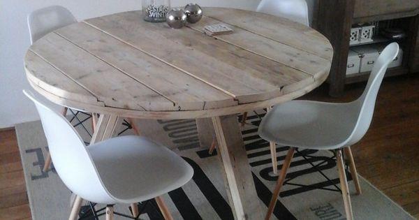 ronde tafel steigerhout  tafels  Pinterest  Eettafel