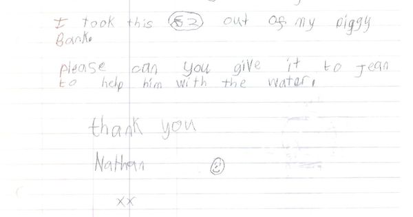 A letter received by WaterAid, in response to our 'no