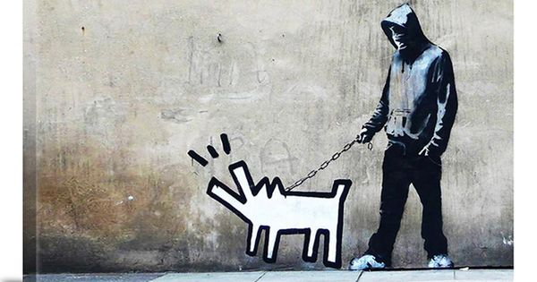 Banksy Choose Your Weapon Keith Haring Dog Canvas Print