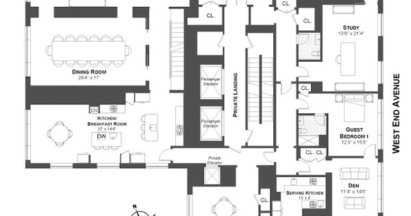 535 West End Avenue, New York. Penthouse. Architecture