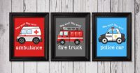 Rescue Decor, Firetruck Print, Police Car Print, Ambulance ...