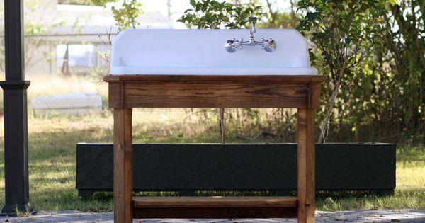 Refinished High Back Drainboard Cast Iron Porcelain Sink