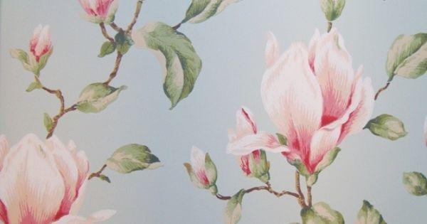322354 blauw roze groen bloemen behang  Nursery