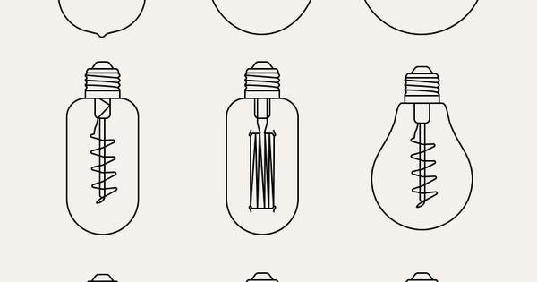 This set contains 9 outline vintage light bulb pixel