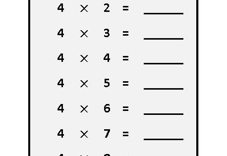 worksheet on 4 times table, multiplication table sheets