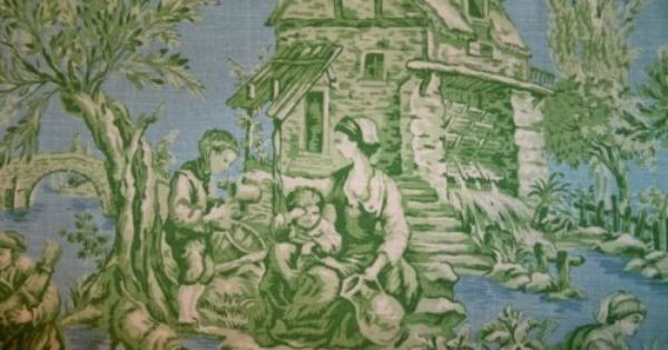 Kravet Pierre Deux Aumont Toile Fabric 10 Yards Blue Green Toile Blue Green And Yards