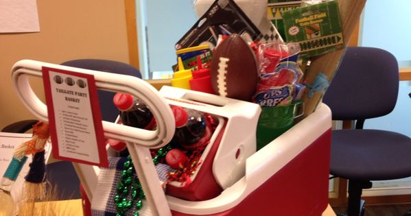 camping chair with cooler cover hire middlesbrough tailgate gift basket - silent auction sport themed football great for any ...