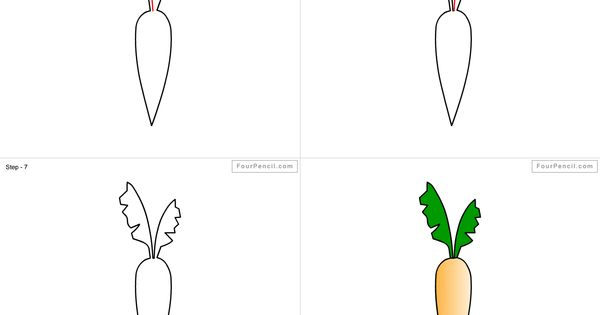 How to draw Carrot for kids step by step drawing tutorial