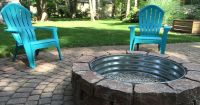 Backyard fire pit. Lowes paver bricks with Tractor Supply ...